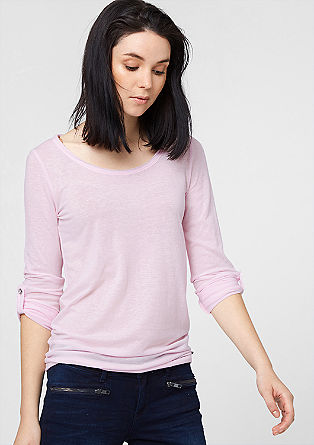 Long sleeve top with rolled edges from s.Oliver