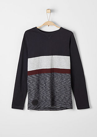 Long sleeve top with striped insert from s.Oliver