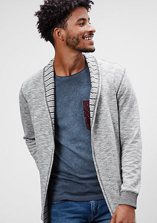 Long sweatshirt jacket with a collar from s.Oliver