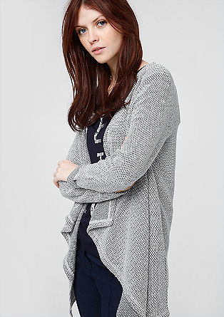 Long sweatshirt jacket with a woven texture from s.Oliver