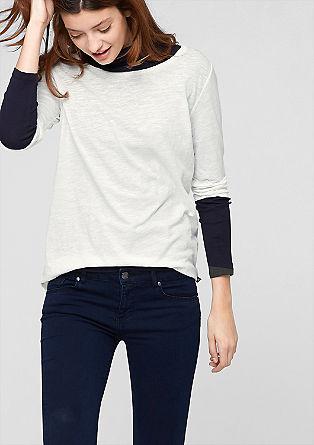 Longshirt aus Flammgarn-Jersey