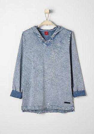 Longsleeve met capuchon en garment-washed effect
