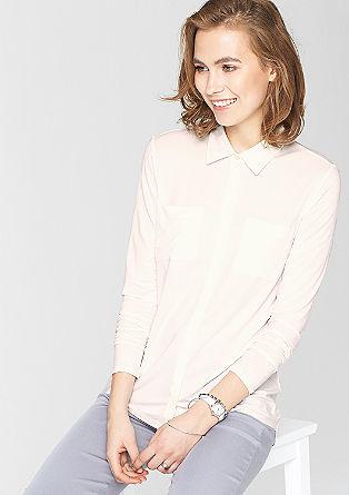 Longsleeve met de look van een blouse
