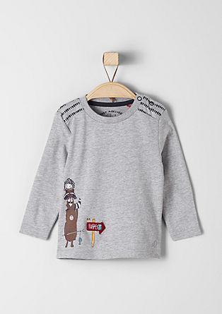 Longsleeve mit Tier-Illustration