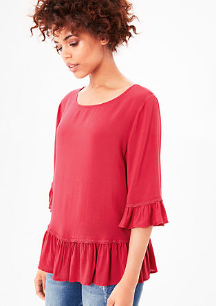 Loose blouse top with flounces from s.Oliver