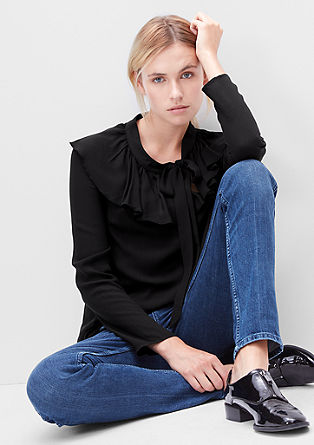 Loose blouse with a flounce collar from s.Oliver