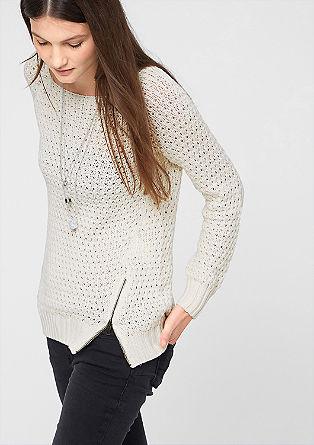 Luknjičasto pleten pulover s kovinsko zadrgo