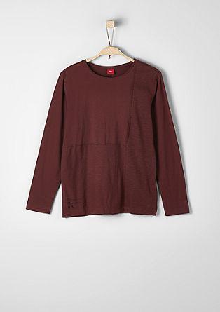 Majica dolg rokav iz mešanice materialov