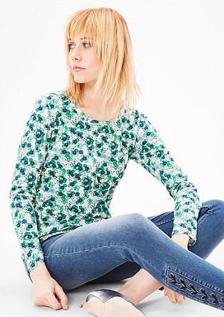 Majica dolg rokav s cvetličnim vzorcem