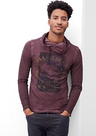 Majica dolg rokav s potiskom in z učinkom barvnega pranja