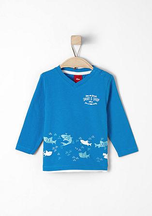 Majica dolg rokav s potiskom morskega psa