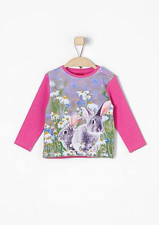 Majica dolg rokav s potiskom zajčkov