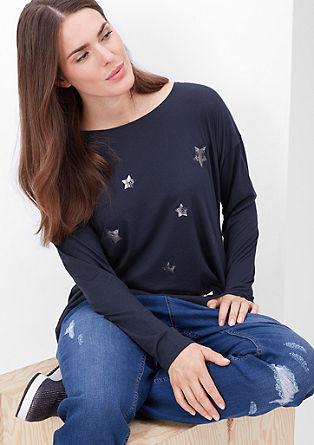 Majica dolg rokav s potiskom zvezd
