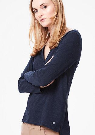 Majica dolg rokav z izrezom v slogu Henley