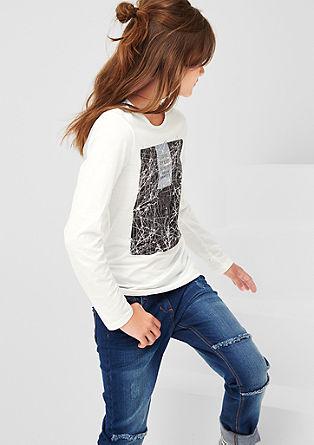 Majica dolg rokav z lesketajočim potiskom
