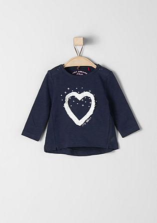 Majica dolg rokav z našitkom v obliki srca