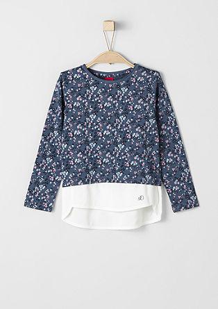 Majica dolg rokav z robom v slogu bluze