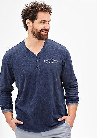 Majica Henley z meliranim učinkom