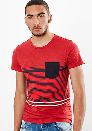 Majica kratek rokav iz preje slub yarn s črtastim potiskom