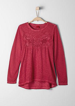 Majica s posebnim učinkom barvnega pranja s 3D vezenjem