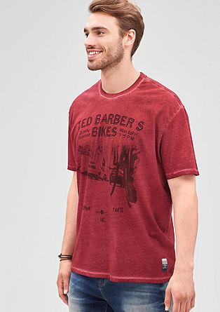 Majica s posebnim učinkom barvnega pranja s potiskom spredaj