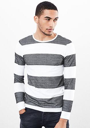 Majica s širokimi črtami in z dolgimi rokavi