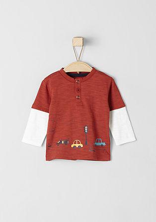 Majica večslojnega videza z gumbi