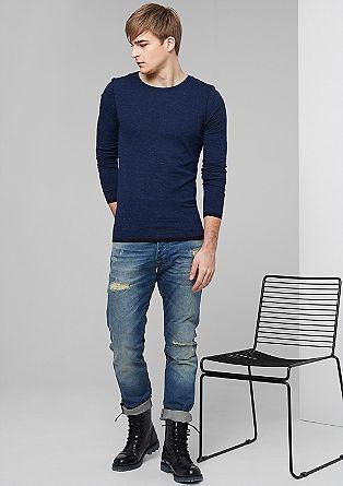 Majica z dolgimi rokavi in kontrastnimi obrobami