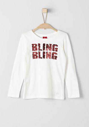 Majica z dolgimi rokavi in napisom z bleščicami
