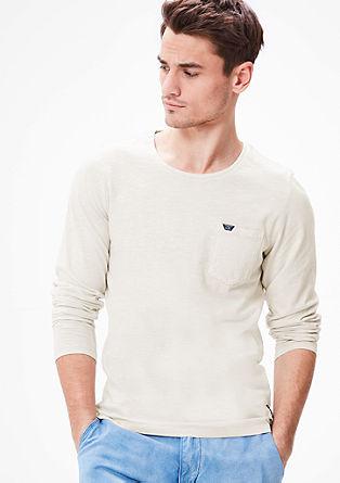 Majica z dolgimi rokavi iz plamenaste preje