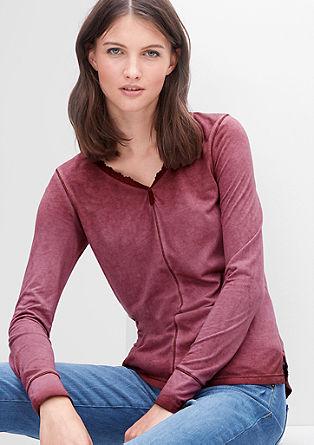 Majica z dolgimi rokavi s čipkasto borduro
