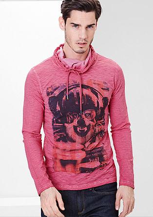Majica z dolgimi rokavi s strukturo plamenaste preje s tiskom