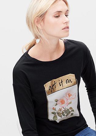 Majica z dolgimi rokavi z glamuroznim natiskom