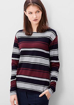 Majica z dolgimi rokavi z žakardskim vzorcem