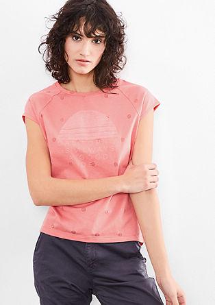 Majica z jedkanim vzorcem in potiskom od znotraj