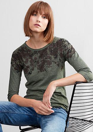 Majica z učinkom barvanega pranja s 3/4 rokavi