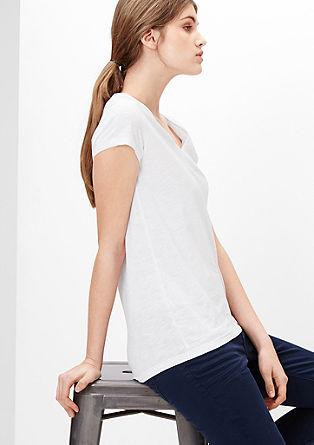 Majica z V-izrezom iz kombinacije plamenaste preje in džersija