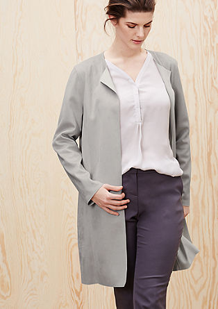 Mantel aus Veloursleder-Imitat