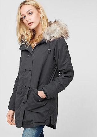 Mantel met fake fur capuchon