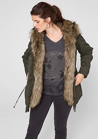 Mantel mit Fake Fur-Kapuze