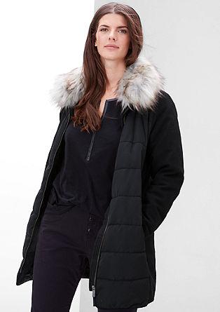Mantel mit Steppfront und Fake Fur