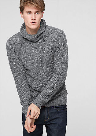 Marled jumper with a knit pattern from s.Oliver