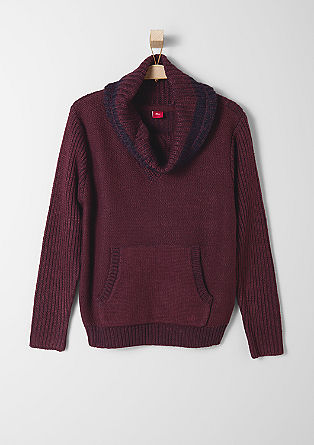 Marled knit jumper with a shawl collar from s.Oliver