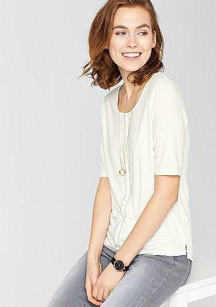 Materiaalmix shirt met kettingdetail