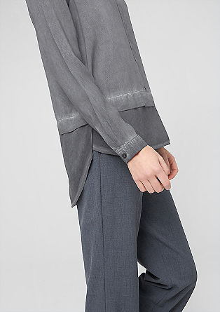 Materialmix-Bluse mit Wascheffekt