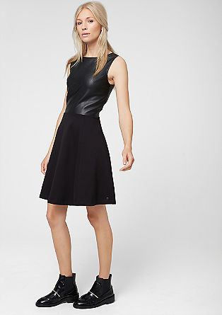 Materialmix-Kleid mit Kunstleder