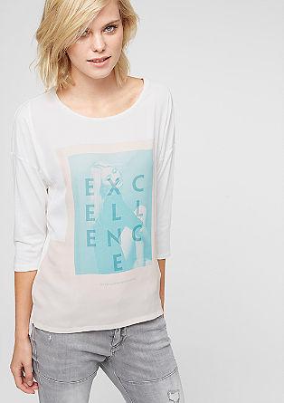 Materialmix-Shirt mit Frontprint