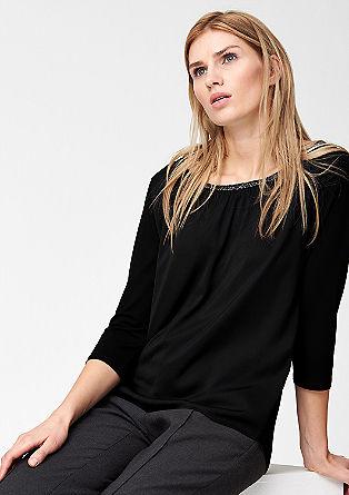Materialmix-Shirt mit Glitzer-Kragen