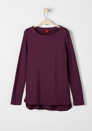 Materialmix-Shirt mit Ripp