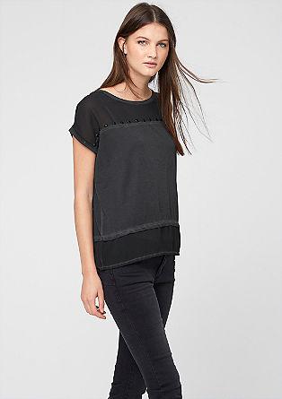 Materialmix-Shirt mit Schmucksteinen